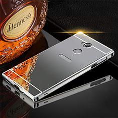 Handyhülle Hülle Luxus Aluminium Metall Tasche für Sony Xperia XA2 Grau