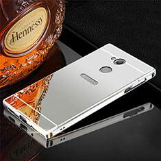 Handyhülle Hülle Luxus Aluminium Metall Tasche für Sony Xperia XA2 Plus Silber