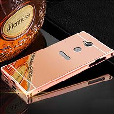 Handyhülle Hülle Luxus Aluminium Metall Tasche für Sony Xperia XA2 Rosegold