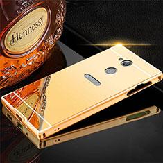 Handyhülle Hülle Luxus Aluminium Metall Tasche für Sony Xperia XA2 Ultra Gold