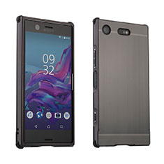 Handyhülle Hülle Luxus Aluminium Metall Tasche für Sony Xperia XZ1 Compact Grau