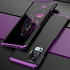 Handyhülle Hülle Luxus Aluminium Metall Tasche für Vivo X51 5G Violett