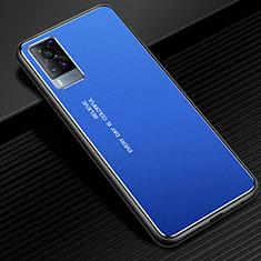 Handyhülle Hülle Luxus Aluminium Metall Tasche für Vivo X60 5G Blau
