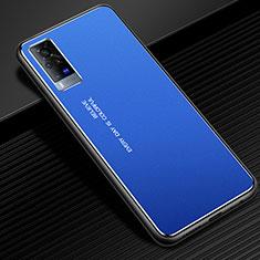 Handyhülle Hülle Luxus Aluminium Metall Tasche für Vivo X60 Pro 5G Blau