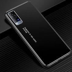 Handyhülle Hülle Luxus Aluminium Metall Tasche für Vivo X60 Pro 5G Schwarz