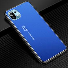 Handyhülle Hülle Luxus Aluminium Metall Tasche für Xiaomi Mi 11 5G Blau