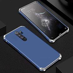 Handyhülle Hülle Luxus Aluminium Metall Tasche für Xiaomi Redmi Note 8 Pro Blau