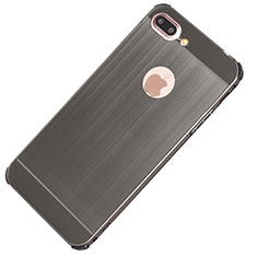 Handyhülle Hülle Luxus Aluminium Metall Tasche M01 für Apple iPhone 8 Plus Dunkelgrau