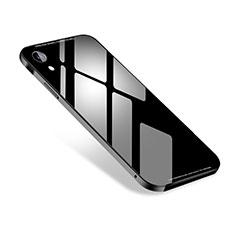Handyhülle Hülle Luxus Aluminium Metall Tasche M01 für Apple iPhone XR Schwarz