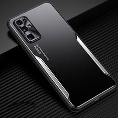 Handyhülle Hülle Luxus Aluminium Metall Tasche M01 für Huawei Honor 30 Silber