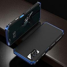 Handyhülle Hülle Luxus Aluminium Metall Tasche M01 für Huawei Honor View 30 5G Blau und Schwarz