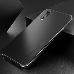 Handyhülle Hülle Luxus Aluminium Metall Tasche M01 für Huawei P20 Schwarz