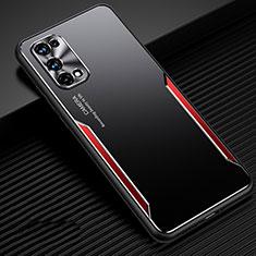 Handyhülle Hülle Luxus Aluminium Metall Tasche M01 für Realme X7 Pro 5G Rot