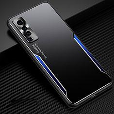 Handyhülle Hülle Luxus Aluminium Metall Tasche M02 für Vivo X50 5G Blau und Schwarz