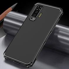 Handyhülle Hülle Luxus Aluminium Metall Tasche M03 für Vivo X50 5G Schwarz