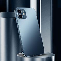Handyhülle Hülle Luxus Aluminium Metall Tasche N01 für Apple iPhone 12 Blau