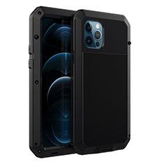 Handyhülle Hülle Luxus Aluminium Metall Tasche N01 für Apple iPhone 12 Pro Schwarz