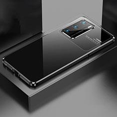Handyhülle Hülle Luxus Aluminium Metall Tasche N01 für Huawei P40 Schwarz