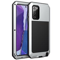 Handyhülle Hülle Luxus Aluminium Metall Tasche N01 für Samsung Galaxy Note 20 5G Silber