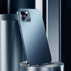 Handyhülle Hülle Luxus Aluminium Metall Tasche N02 für Apple iPhone 12 Pro Blau