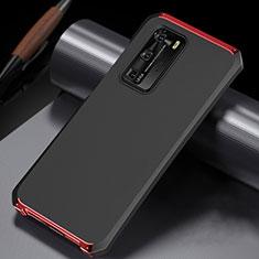 Handyhülle Hülle Luxus Aluminium Metall Tasche N02 für Huawei P40 Pro Rot und Schwarz