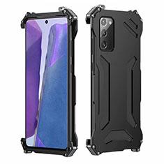 Handyhülle Hülle Luxus Aluminium Metall Tasche N02 für Samsung Galaxy Note 20 5G Schwarz
