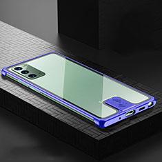 Handyhülle Hülle Luxus Aluminium Metall Tasche N03 für Samsung Galaxy Note 20 5G Blau