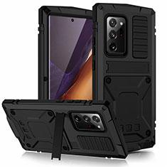 Handyhülle Hülle Luxus Aluminium Metall Tasche N03 für Samsung Galaxy Note 20 Ultra 5G Schwarz
