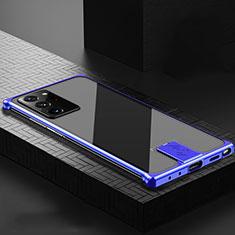 Handyhülle Hülle Luxus Aluminium Metall Tasche N04 für Samsung Galaxy Note 20 Ultra 5G Blau