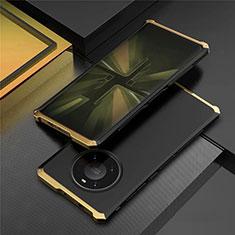 Handyhülle Hülle Luxus Aluminium Metall Tasche T01 für Huawei Mate 40 Pro Gold und Schwarz