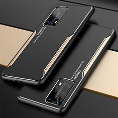 Handyhülle Hülle Luxus Aluminium Metall Tasche T01 für Huawei P40 Pro+ Plus Gold