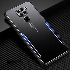 Handyhülle Hülle Luxus Aluminium Metall Tasche T01 für Xiaomi Redmi Note 9 Blau