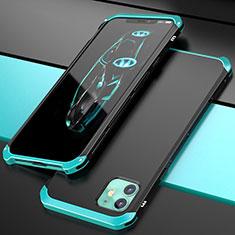 Handyhülle Hülle Luxus Aluminium Metall Tasche T02 für Apple iPhone 11 Cyan