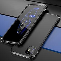 Handyhülle Hülle Luxus Aluminium Metall Tasche T02 für Apple iPhone 12 Schwarz