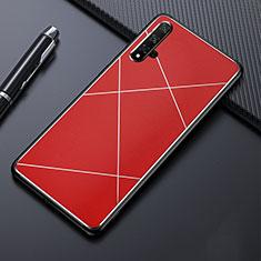 Handyhülle Hülle Luxus Aluminium Metall Tasche T02 für Huawei Nova 5T Rot