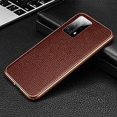 Handyhülle Hülle Luxus Aluminium Metall Tasche T02 für Huawei P40 Pro+ Plus Braun