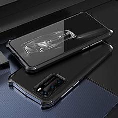 Handyhülle Hülle Luxus Aluminium Metall Tasche T03 für Huawei P40 Schwarz