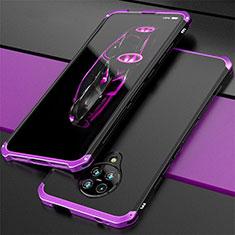 Handyhülle Hülle Luxus Aluminium Metall Tasche T03 für Xiaomi Poco F2 Pro Violett