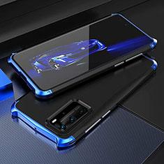 Handyhülle Hülle Luxus Aluminium Metall Tasche T05 für Huawei P40 Pro Blau