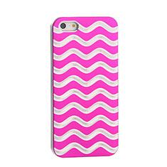 Handyhülle Hülle Luxus Aluminium Metall Wave für Apple iPhone 5S Pink