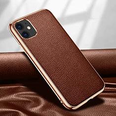 Handyhülle Hülle Luxus Leder Schutzhülle für Apple iPhone 12 Mini Braun