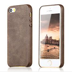 Handyhülle Hülle Luxus Leder Schutzhülle für Apple iPhone 5S Braun
