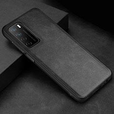 Handyhülle Hülle Luxus Leder Schutzhülle für Huawei Honor Play4 5G Schwarz
