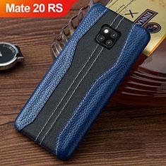 Handyhülle Hülle Luxus Leder Schutzhülle für Huawei Mate 20 RS Blau und Schwarz