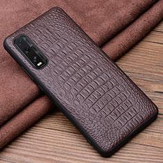 Handyhülle Hülle Luxus Leder Schutzhülle für Oppo Find X2 Braun