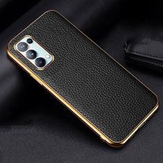 Handyhülle Hülle Luxus Leder Schutzhülle für Oppo Reno5 Pro 5G Schwarz