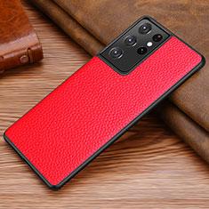 Handyhülle Hülle Luxus Leder Schutzhülle für Samsung Galaxy S21 Ultra 5G Rot