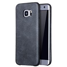 Handyhülle Hülle Luxus Leder Schutzhülle für Samsung Galaxy S7 Edge G935F Schwarz