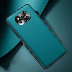 Handyhülle Hülle Luxus Leder Schutzhülle für Xiaomi Poco X3 NFC Cyan