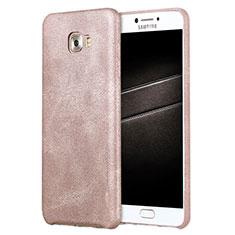 Handyhülle Hülle Luxus Leder Schutzhülle L01 für Samsung Galaxy C7 Pro C7010 Rosegold